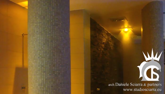 Progettazione e realizzazione centri benessere spa con tunnel sensoriale Tolive sport, architetto Sciarra Roma