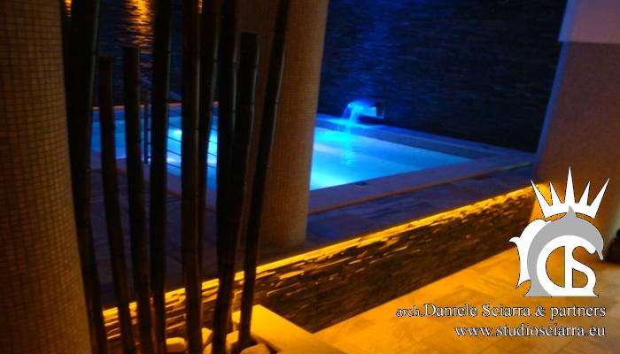 progettazione centri benessere progetto centro benessere progetto centro benessere con piscina idromassaggio e rivestimento interno in mosaico di travertino