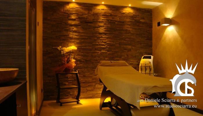 progetto e progettazione centri benessere con cabina massaggi in pietra e mosaico, vinoterapia