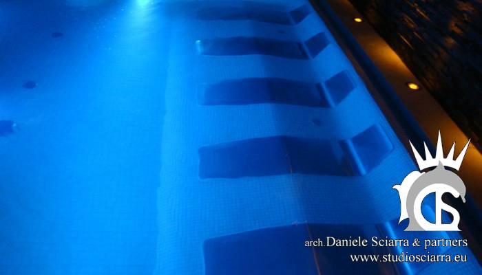 progettazione e realizzazione piscine idromassaggio con lettini idromassaggio per centri benessere
