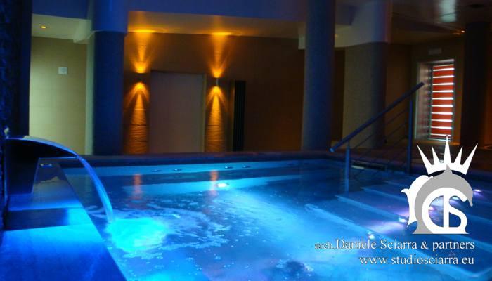progettazione centri benessere spa e realizzazione centri benessere spa con piscina idromassaggio per centri benessere spa, architetto sciarra Roma