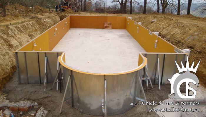 La costruzione della piscina esterna in acciaio