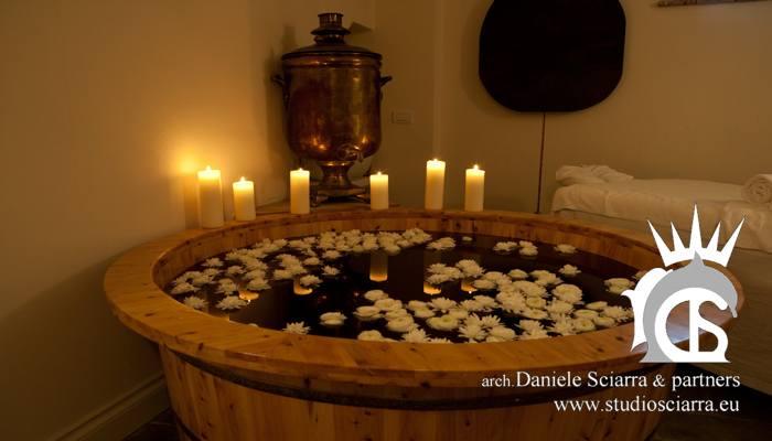 Tino di legno per la vinoterapia e bagno di coppia