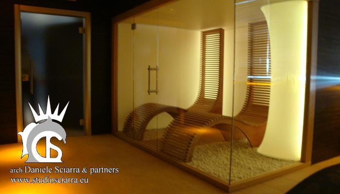 La stanza del sale e la parete termotesa retroilluminata