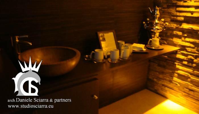 La zona tisane con il samovar nella zona relax