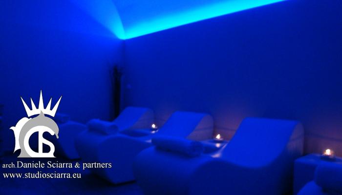 Zona relax con grandi sedute in eps - Terme di Stigliano