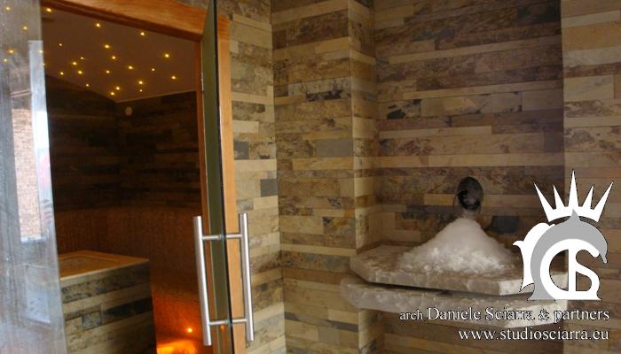 Realizzazione del bagno turco e della cascata di ghiaccio