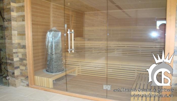 Realizzazione della sauna all'interno della Spa