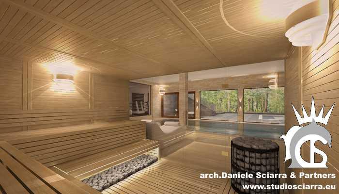 La grande sauna finlandese in legno