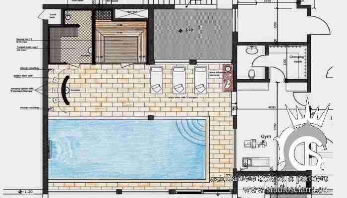 Planimetria progetto centro benessere villa a Mosca