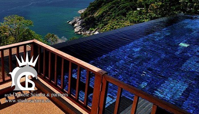 Terrazze con bordo sfioratore sul mare