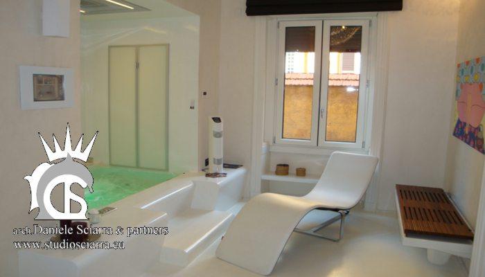 Home SPA con bagno turco e vasca idromassaggio in resina bianca